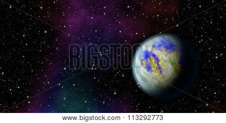 Mysterious, unknown planet in the universe. Life among the stars.