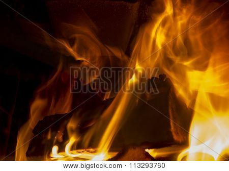 Burning Fireplace, Firewood, Evening Warmth And Comfort