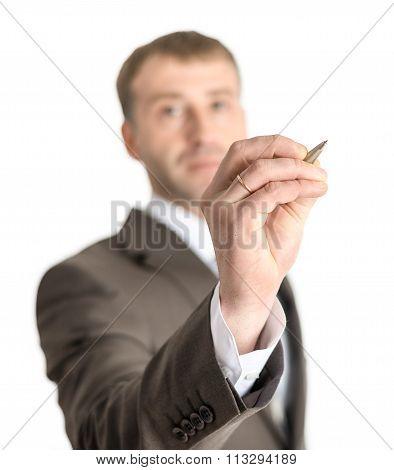Businessman writing on screen