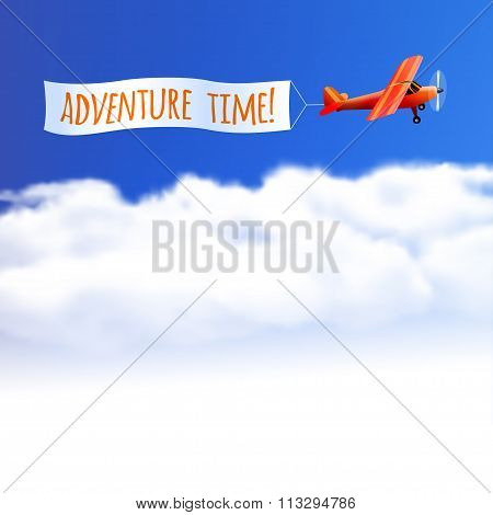 Sky Background With Red Airplane. Vector Illustration, Eps10