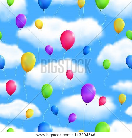 Seamless Skyes Background With Balloons. Vector Illustration, Eps10, Editable.