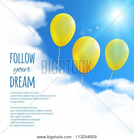 Sky Background With Balloons. Vector Illustration, Eps10, Editable