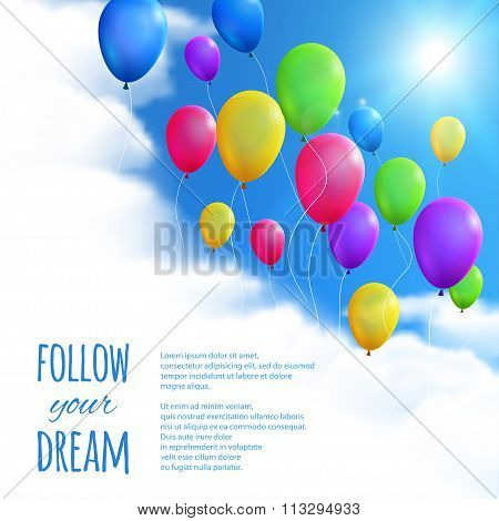Sky Background With Colorful Balloons. Vector Illustration, Eps10, Editable