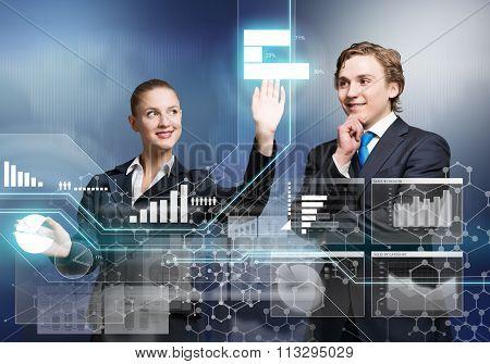 Businesspeople using modern technologies