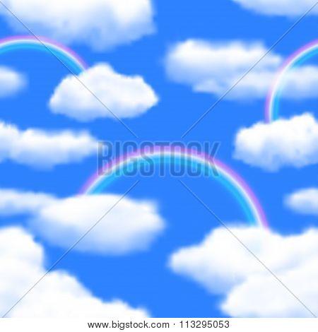 Seamless Sky Background With Rainbow. Vector Illustration, Eps10, Editable