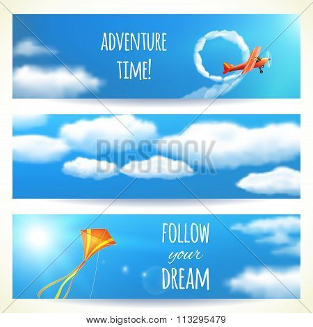 Set Of Horizontal Banners With Skies. Vector Illustration, Eps10, Editable.