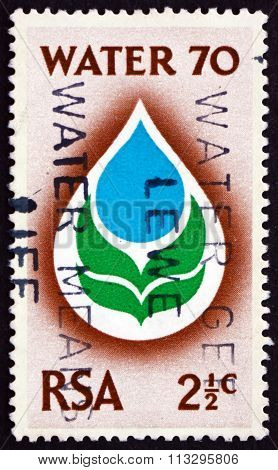 Postage Stamp South Africa 1970 Water Drop And Flower