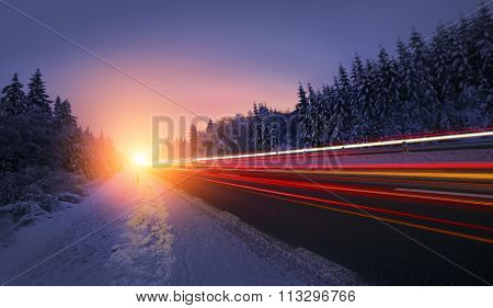 Motion Blur of Car Driving