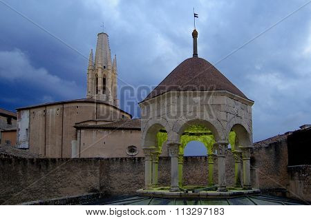 Arab Baths And Church Of Sant Feliu, Girona,spain