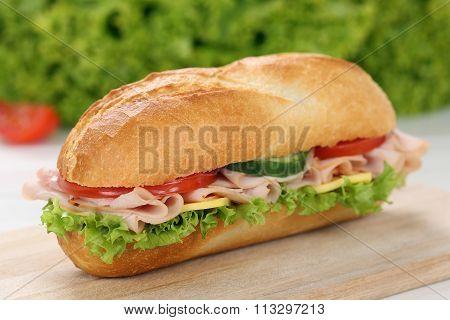 Sub Deli Sandwich Baguette With Ham