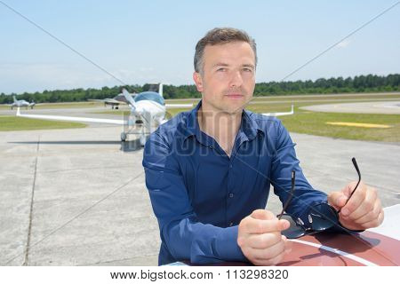 Portrait of man at airport