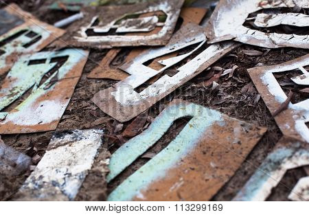 Old Metal Stencils With Figures
