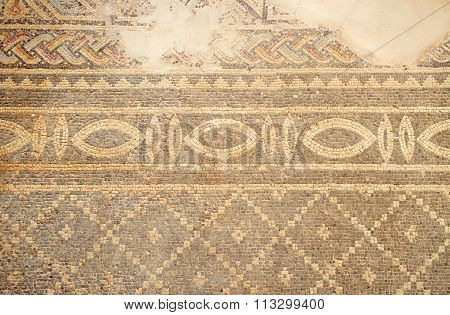 Ancient floor mosaic at Phaphos archaeological park, Cyprus.