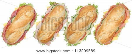 Collection Of Sub Deli Sandwiches Baguettes With Ham And Cheese Top View Isolated