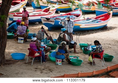 African people men women and boat with fish on the sand beach in cape verde