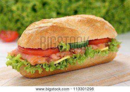 Sub Deli Sandwich Baguette With Salmon Fish