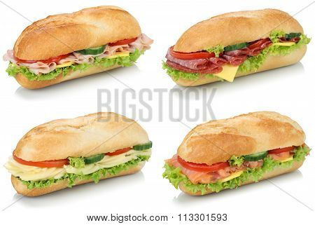 Collection Of Sub Deli Sandwiches Baguettes With Salami, Ham And Cheese Isolated