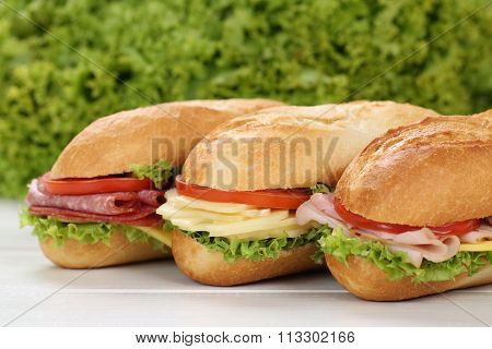 Sub Deli Sandwiches Baguettes With Ham, Salami And Cheese
