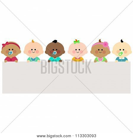 Multi ethnic group of babies holding horizontal blank banner