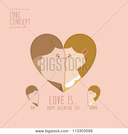 Man And Woman Kissing A Heart Shape Flat Vector.