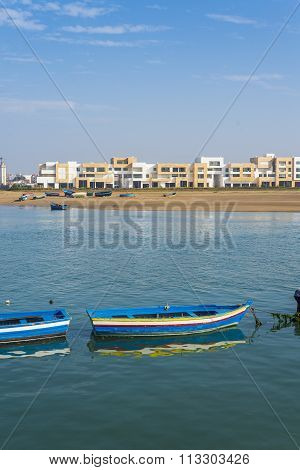 Fishing Boats On The Bou Regreg River In Rabat Port.