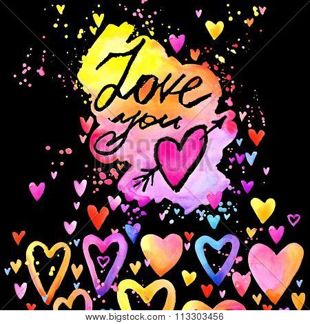 Love you text. lettering colorful background. Valentines day. watercolor background with colorful he