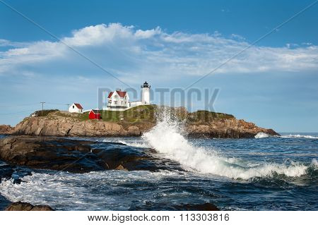 Waves and Unique Cloud Formations By Lighthouse