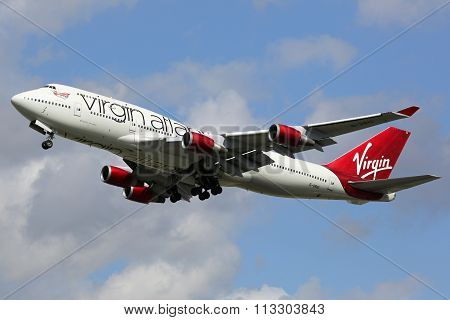 Virgin Atlantic Boeing 747-400 Airplane London Heathrow Airport