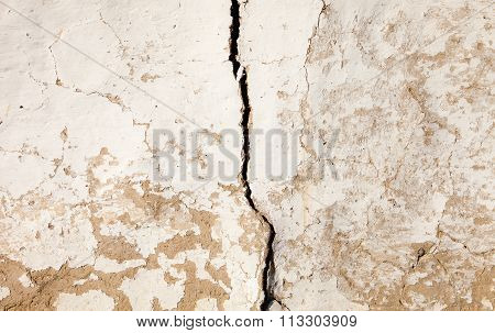 Old Cracked Whitewashed Wall