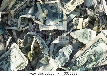 Pile Of Crumpled Dollars