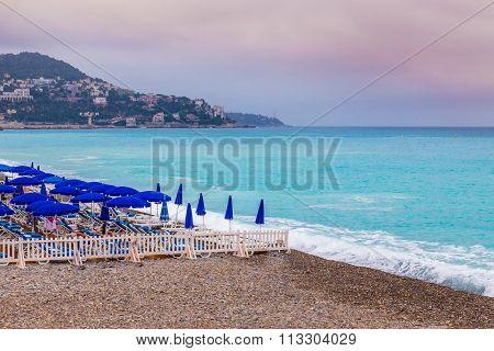 Stony City Beach With Deckchairs-nice,france