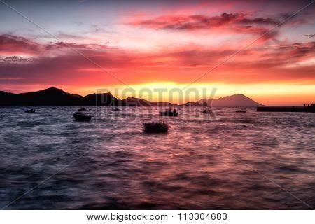 Beautiful Sunset Over Aegean Sea, Klima In Milos Island Greece. Soft Focus