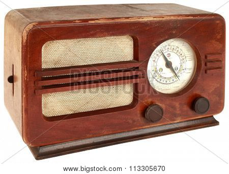 Old Wooden Radio Apparatus Isolated with Clipping Path