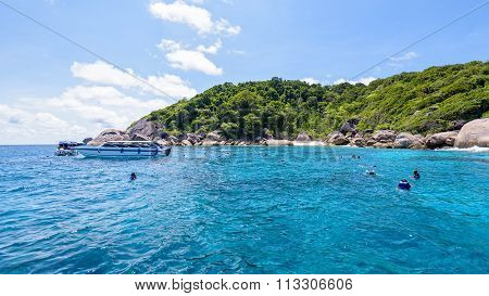 Tourists Snorkeling At The Similan Islands In Thailand