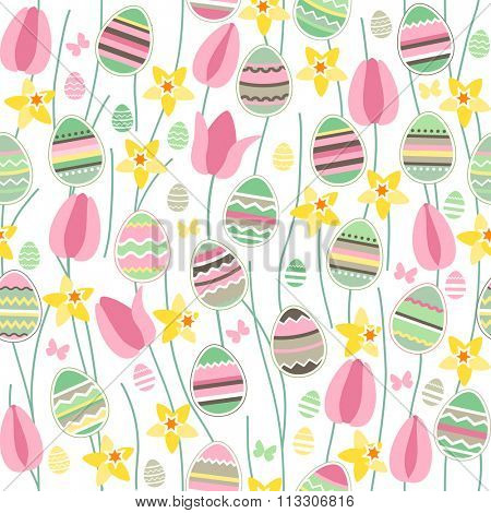 Seamless pattern with easter willow, tulips and painted eggs