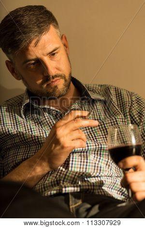 Mature Man Contemplating
