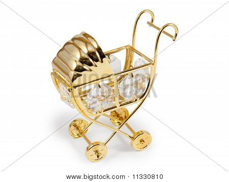 Golden Stroller With Crystals