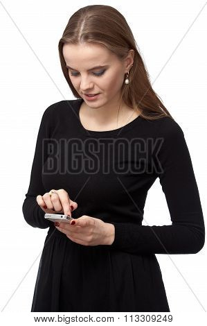 Young Woman Is Writing Sms