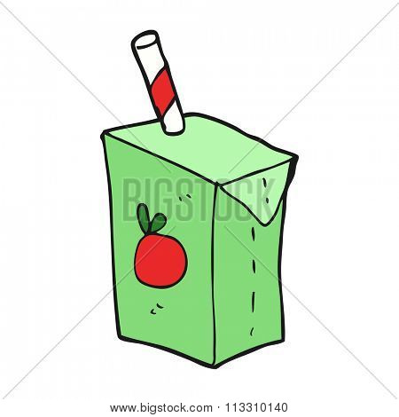 freehand drawn cartoon juice box