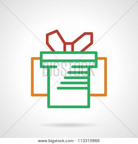 Green box with red bow simple line vector icon