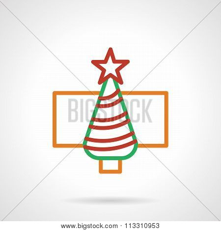 Color simple line New Year tree vector icon