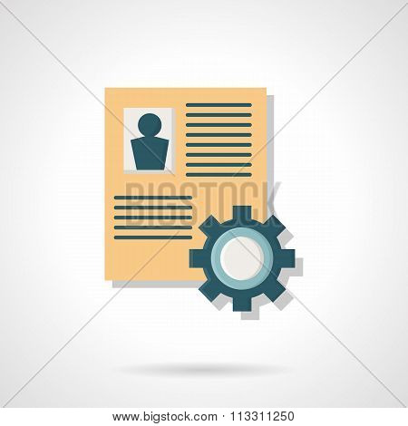 Summary and gear flat color vector icon