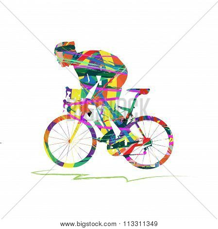 abstract cyclist on the white background