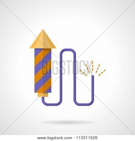 Purple firecracker flat color vector icon