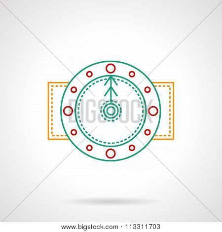 Thin color line round clock vector icon