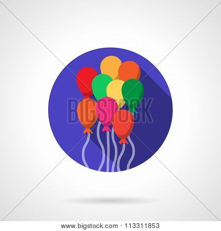 Bright colorful balloons round flat vector icon