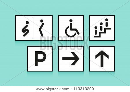 Set Of Navigation Signs. Icons Toilet Or Wc, Arrow And Escalator On White Background. Vector Illustr