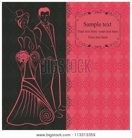 Newlyweds. Woman in stylish dress in the top-hat. Pink invitation.