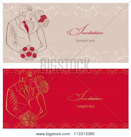 Newlyweds. Couple with wedding bouquet. Wedding invitation.
