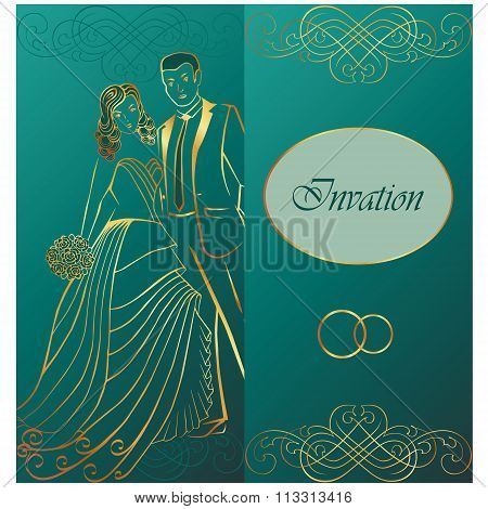 Newlyweds. Wedding invitation.
